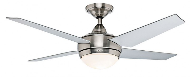 hunter ceiling fan sonic 132cm brushed chrome with lights and wall. Black Bedroom Furniture Sets. Home Design Ideas