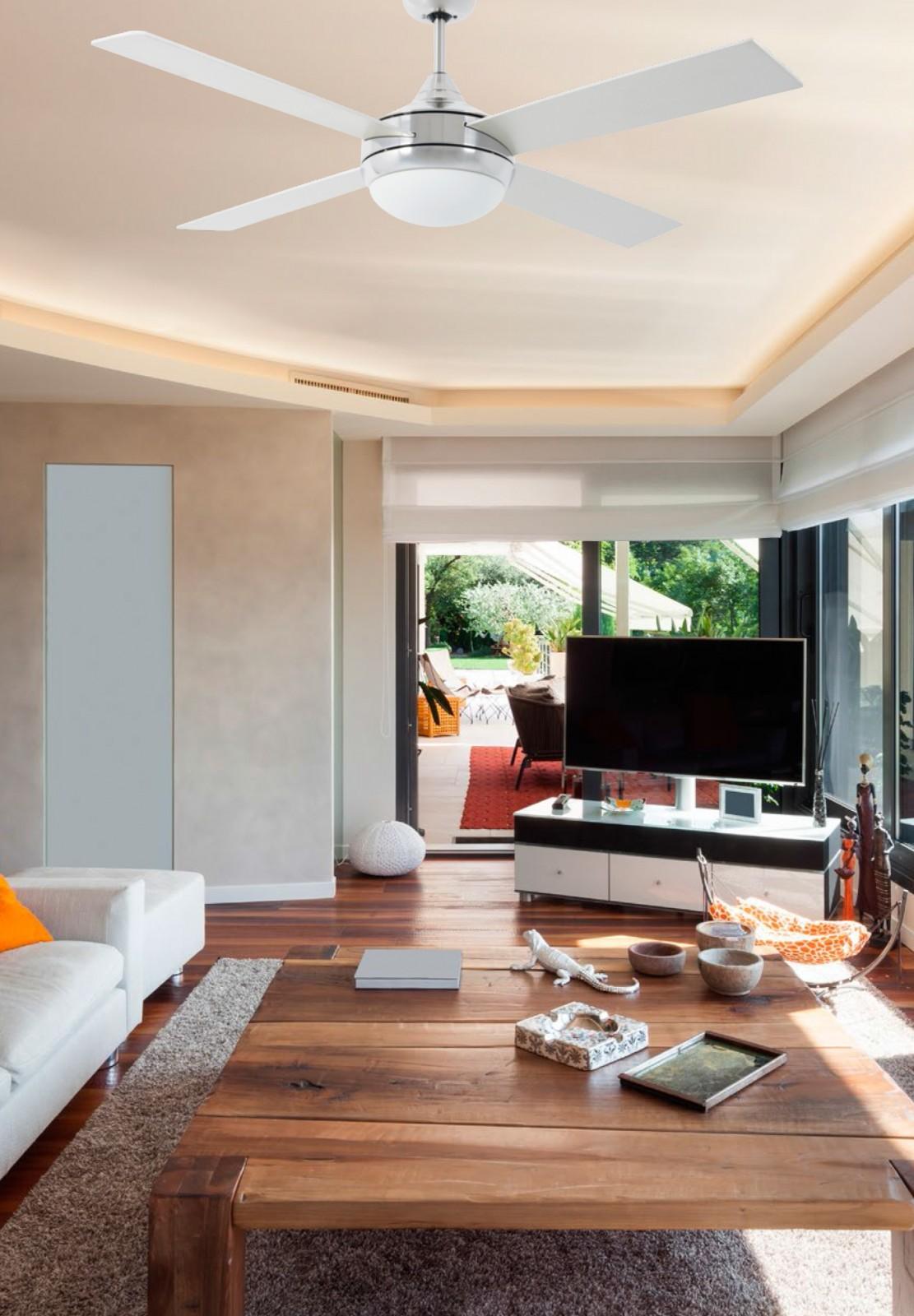 deckenventilator icaria aluminium 132 cm mit beleuchtung. Black Bedroom Furniture Sets. Home Design Ideas