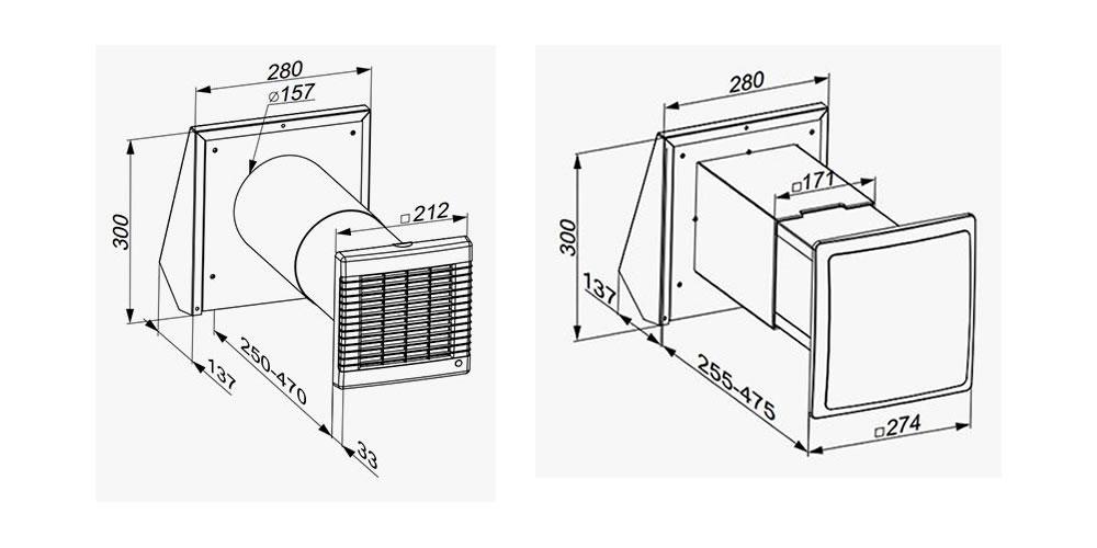 Ventilation system TwinFresh Standard series R-50, RA-50, S-60, SA-60 dimensions