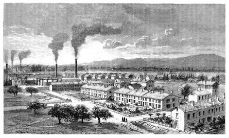 Bild einer Fabrikanlage in der Industrialisierung