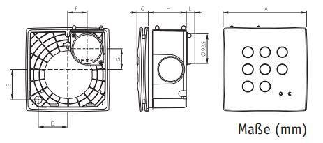 Schachtventilator / Kleinraumventilator Quadro Super AP 270 m³/h im verschieden Ausführungen