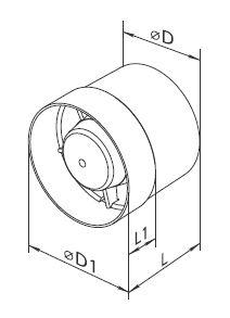 Vents Rohrlüfter, Rohrventilator, Einschublüfter Badlüfter 100 VKO Serie bis 135 m³/h in IPX4 mit Kugellager