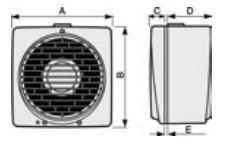 Ventilateur de fenêtre Vario 150/6 avec tirette dimensions