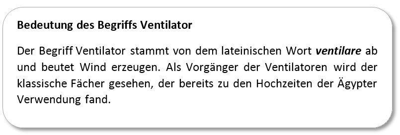 Bedeutung des Begriffs Ventilator