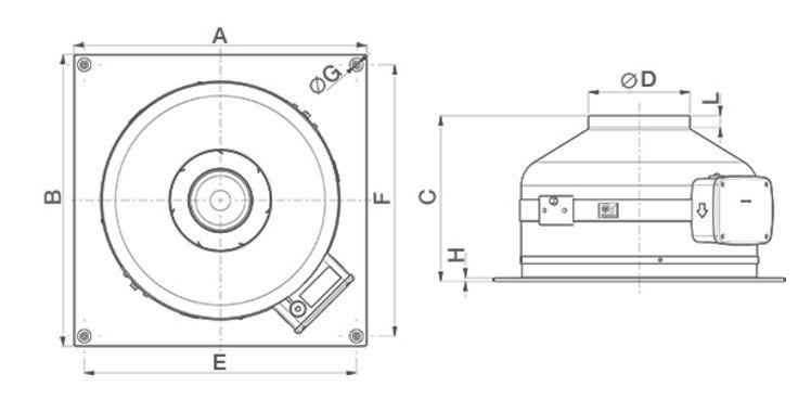 Drawing dimensions Centrifugal in-line wall fan CA 125 MD W EP 455 m³/h IP44
