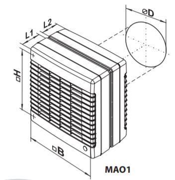 axialer Fensterventilator 125 MAO1 Serie bis 345 m³/h  IP24
