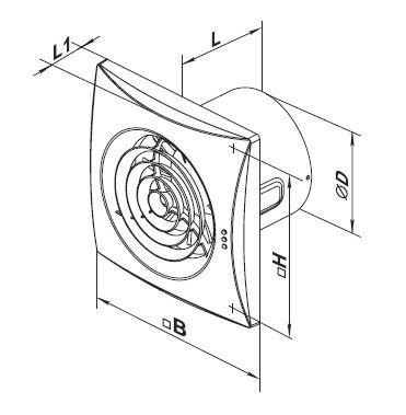 Dimensions Vents extractor fan 100 Quiet series up to 97 m³/h IP45 different models