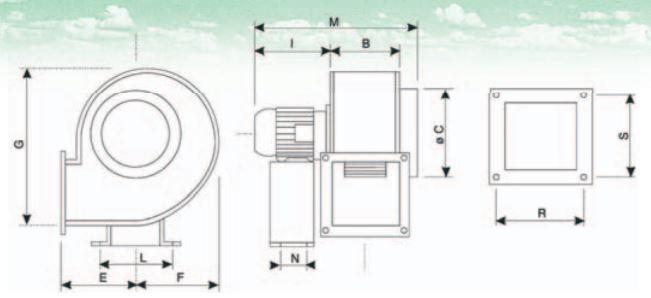 CB / CS ATEX centrifugal fan range dimensions