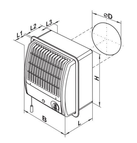 Vents CF100 Turbo centrifugal fan series dimensions