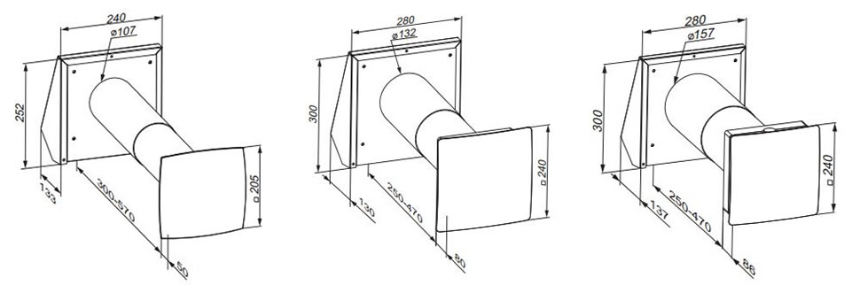Ventilation system TwinFresh Comfo series RA1-25, RA1-35, RA1-50 dimensions