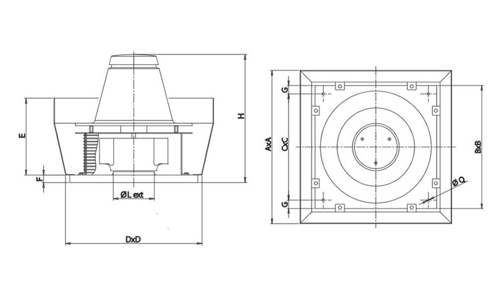 Vortice TRM standard roof fan range 230 Volt monophase dimensions vertical model
